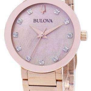 Reloj Bulova moderno 97 P 132 diamantes Acentos cuarzo mujer