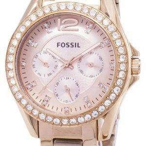 Reloj de cristal multifunción Riley fósil ES2811 oro rosa mujer