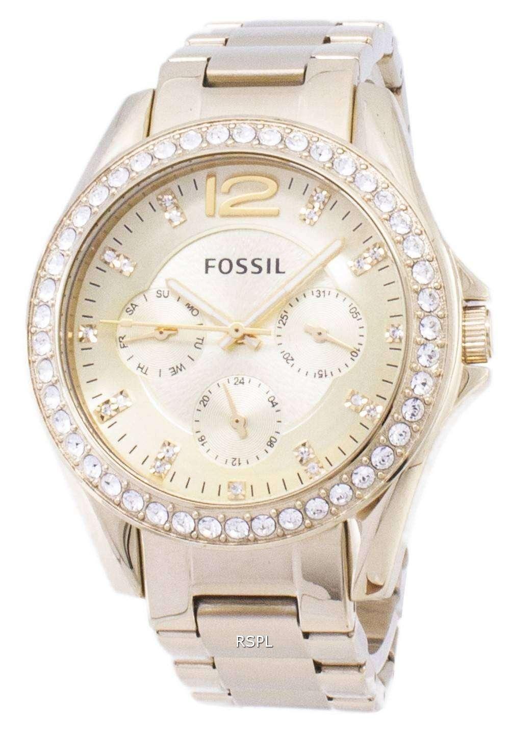 4f51a79b1d95 Fósiles Riley dorado multifunción esfera cristal ES3203 reloj de mujeres