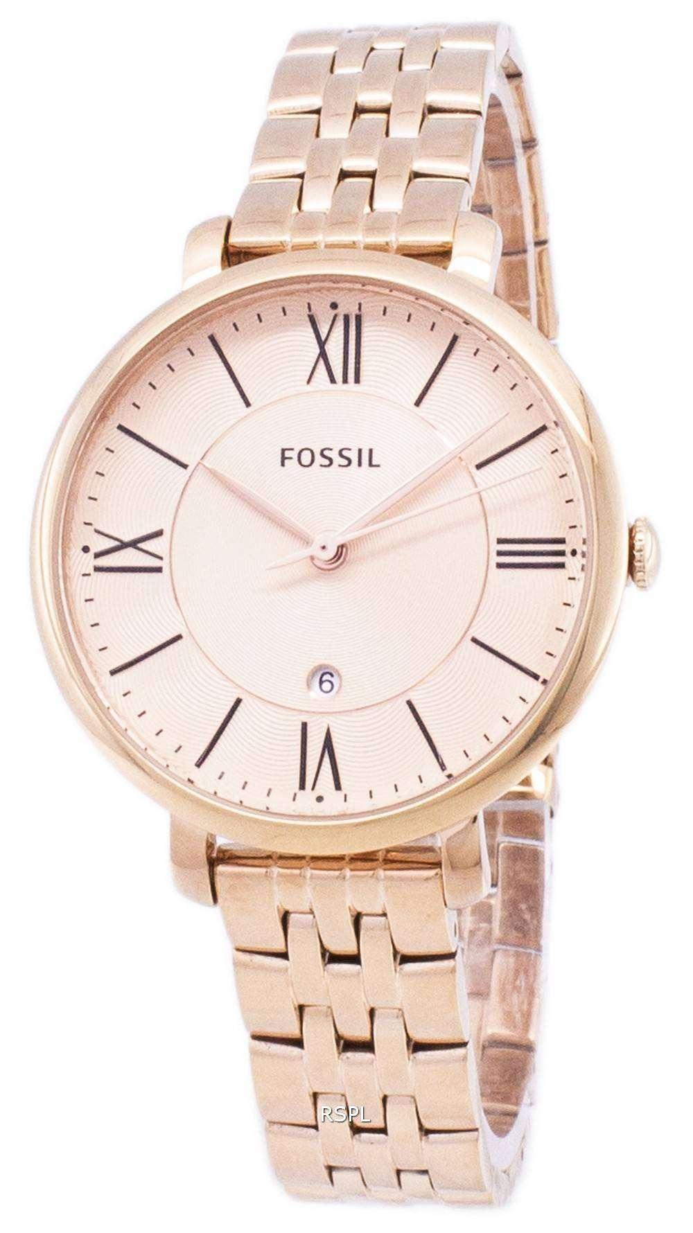 6a7a26650d93 Fósiles Jacqueline rosa dorado analógico ES3435 reloj de mujeres ...
