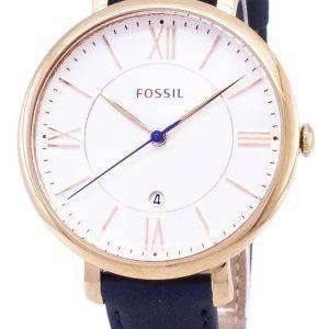 Fósiles Jacqueline Silver Dial cuero azul marino ES3843 reloj de mujeres
