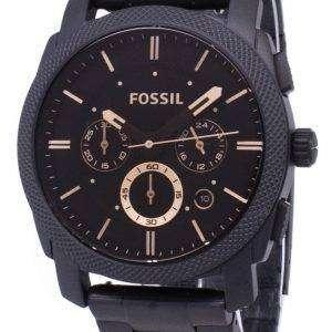 Máquina fósil tamaño mediano Cronógrafo IP negro acero inoxidable FS4682 reloj de hombres