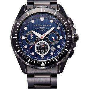 Aries de oro inspiran Atlántico Cronógrafo cuarzo G 7002 BK-BU Watch de Men
