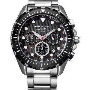 Aries de oro inspiran Atlántico Cronógrafo cuarzo G 7002 SBK-BK Watch de Men