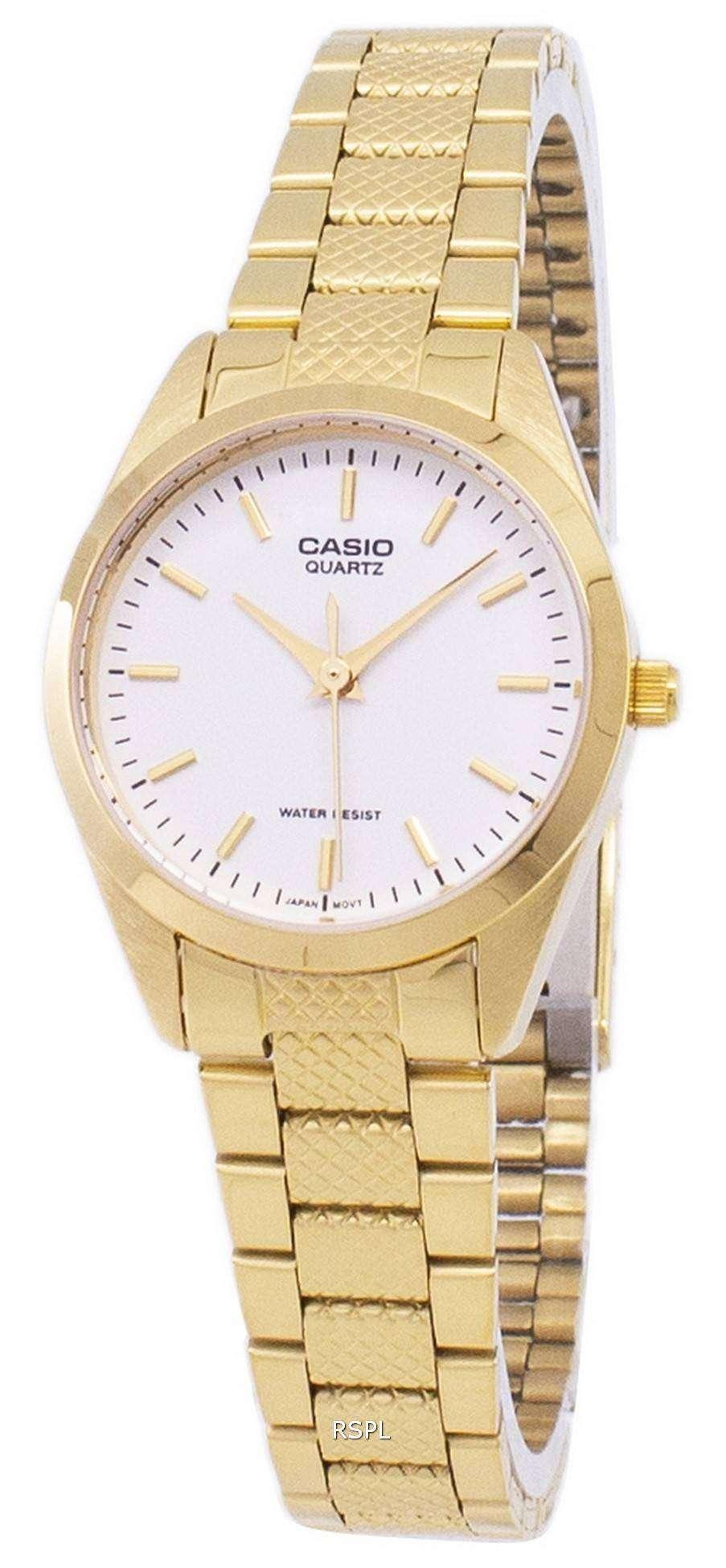 6dd7fb0e6c71 Reloj Casio analógico cuarzo dorado esfera blanca LTP-1274G-7ADF LTP-1274G-