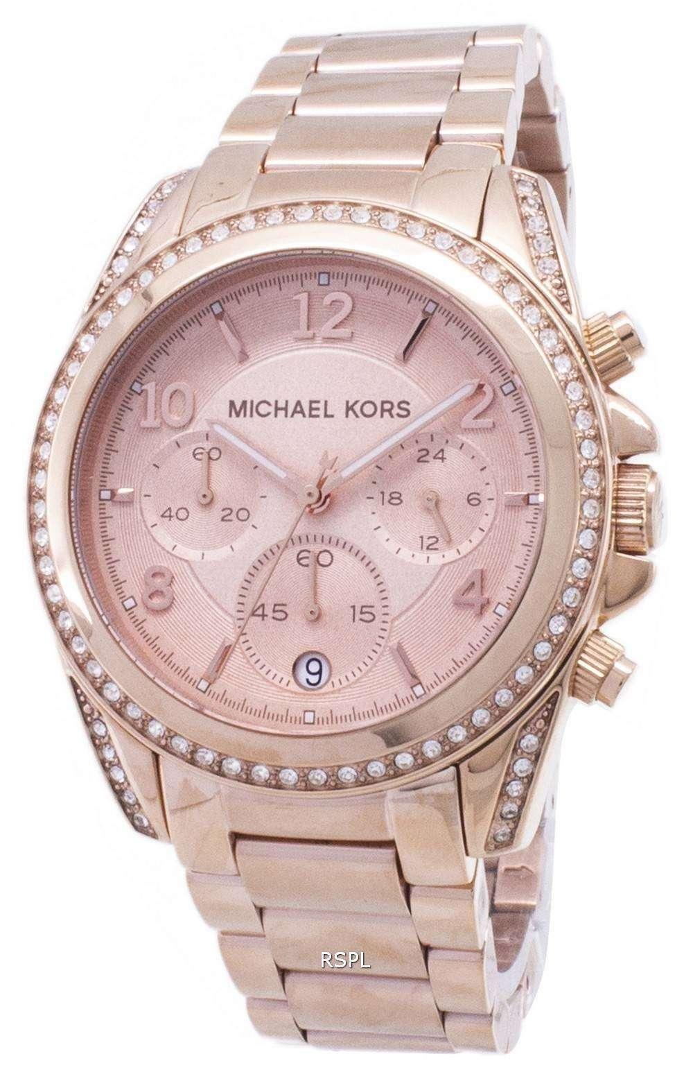 12d6e9f4926b Michael Kors oro rosa plateado Blair Glitz MK5263 reloj de mujeres ...