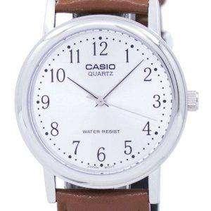 Reloj Casio cuarzo Dial de plata marrón cuero MTP-1095E-7BDF MTP-1095E-7B de los hombres