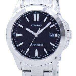 Reloj Casio cuarzo analógico Dial negro MTP-1215A-1A2DF MTP-1215A-1A2 hombres de acero inoxidable de
