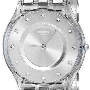 Swatch piel clásico cajón plata cuarzo SFK393G Watch de Women