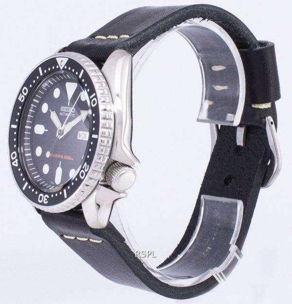 Reloj de Seiko Automatic LS14 SKX007K1 Diver 200M negro cuero correa hombre