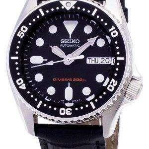 Reloj de Seiko autom√°tico SKX013K1-MS1 Diver 200M negro cuero correa hombre