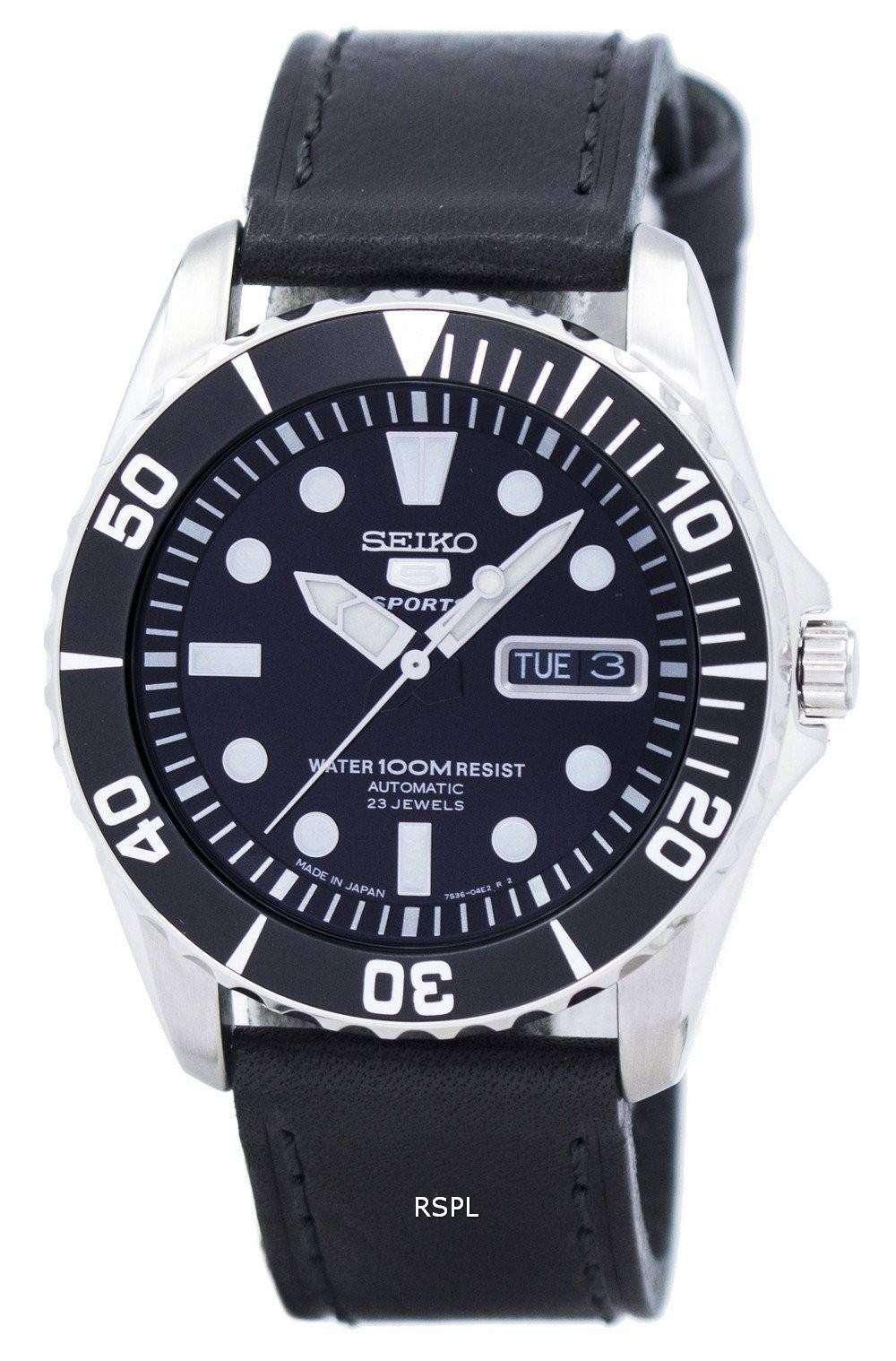 8d26fba73592 Reloj Seiko 5 Sports automático 23 joyas relación cuero negro ...