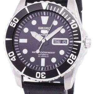 Reloj Seiko 5 Sports cociente autom√°tico cuero negro SNZF17K1-LS8 de los hombres