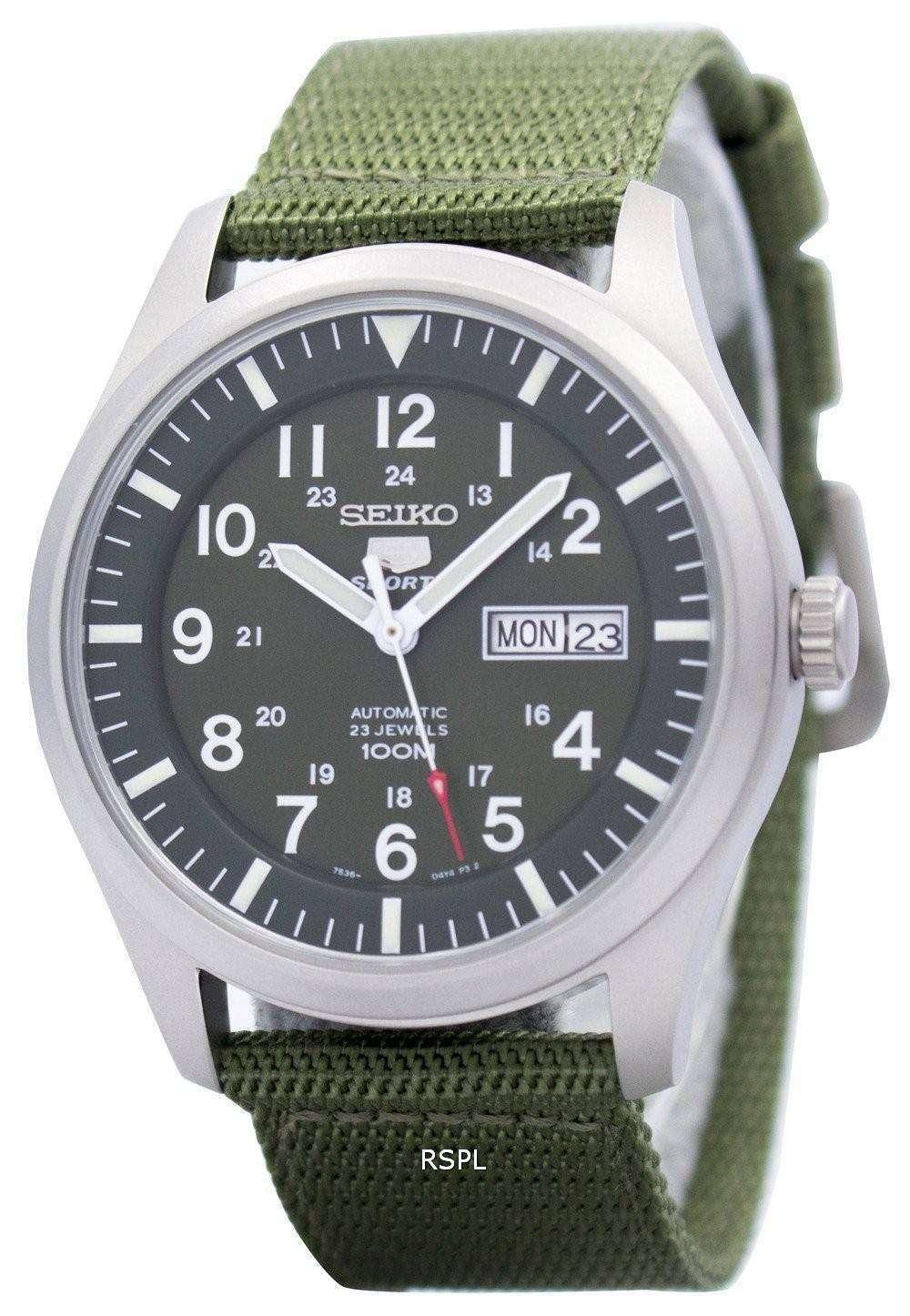 525535bff Reloj Seiko 5 Sports automático militar SNZG09K1 SNZG09 SNZG09K varonil