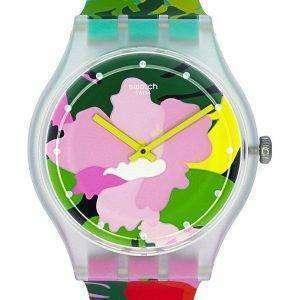 Swatch Originals Tropical Garden cuarzo analógico SUOK132 reloj Unisex