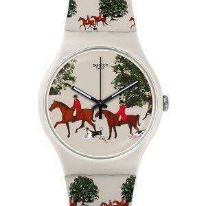 Reloj Unisex Swatch Originals chaqueta roja cuarzo analógico SUOT103