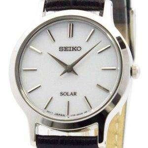 Reloj Seiko Solar esfera blanca cuero correa SUP299P1 SUP299P de las mujeres