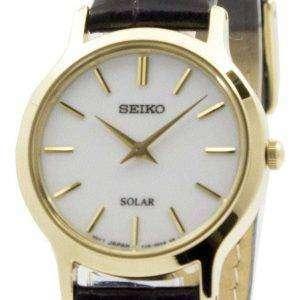 Reloj Seiko Solar esfera blanca cuero correa SUP300P1 SUP300P de las mujeres