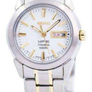 Reloj Seiko zafiro titanio cuarzo 100M SXA115 SXA115P1 SXA115P de las mujeres