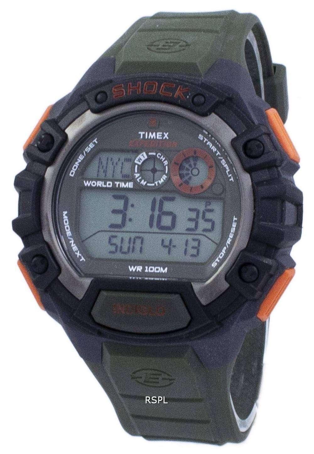 38eee49621bd Reloj Timex Expedition Shock mundo tiempo Indiglo Digital T49972 de los  hombres