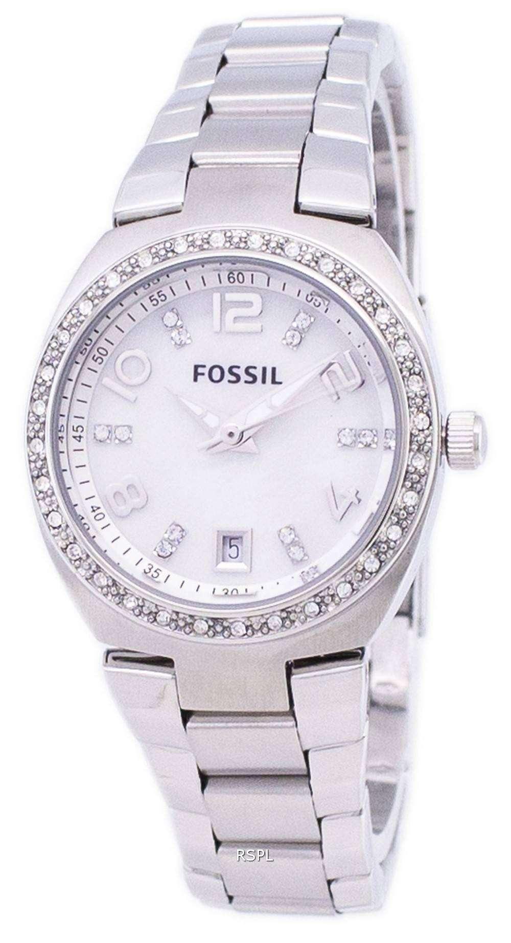 5fd5d87a93a8 Fósiles Flash madre de cristal de Swarovski de Dial perla AM4141 reloj de  mujeres