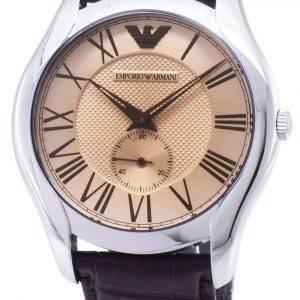 Emporio Armani clásico Dial ámbar cuero marrón AR1704 reloj de hombres
