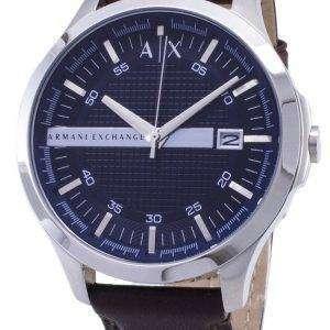 Armani Exchange cuarzo Dial azul marino marrón cuero correa AX2133 reloj de hombres