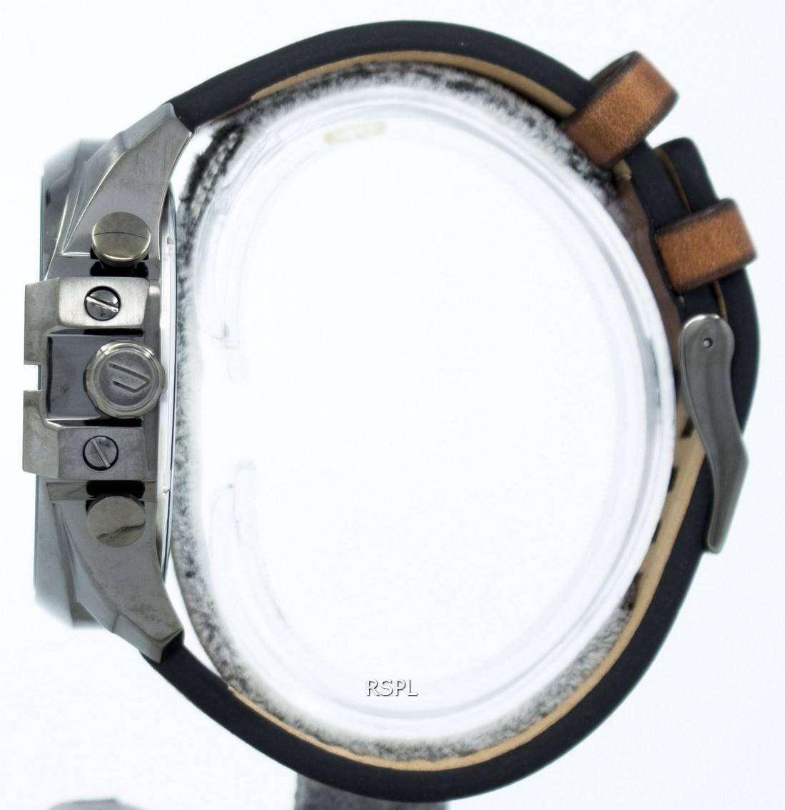 21b3046df63b Reloj Diesel Mega jefe Negro Dial cuero marrón DZ4343 de los hombres ...