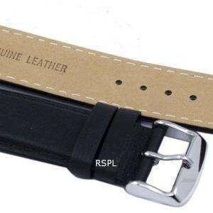 Relación Negro correa de cuero marca 22mm para SKX007 SKX009, SKX011, SNZG07, SNZG015