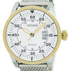 Aviador de ciudadano Eco-Conduzca malla banda 54A AW1364 Watch de Men