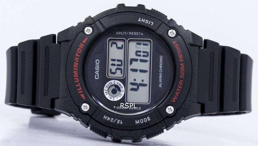 Reloj Casio deportivo iluminador alarma cronógrafo Digital W 216H 1AV hombre