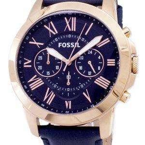 Fossil Grant Chronograph correa de cuero azul FS4835 reloj de caballero