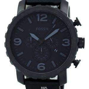 Fossil Nate Chronograph negro ion chapado en cuero JR1354 reloj de los hombres