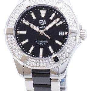 Tag Heuer Aquaracer WAY131E. BA0913 diamantes Acentos cuarzo 300M reloj de la mujer