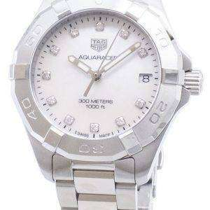 Tag Heuer Aquaracer WBD1314. BA0740 diamantes Acentos cuarzo 300M reloj de la mujer