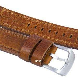 Correa de cuero de marca de relación de color marrón 22 mm para SKX007, SKX009, SKX011, SNZG07, SNZG015