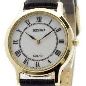 Seiko Solar White Dial Correa de cuero SUP304 SUP304P1 SUP304P Reloj para mujer
