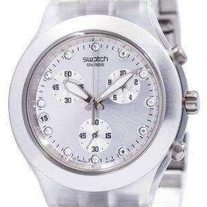 Reloj Unisex Swatch ironía Diaphane Cronógrafo plata full SVCK4038G