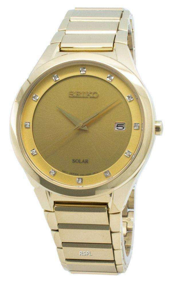 Reloj Seiko Solar SNE384 SNE384P9 SNE384P Diamond Acentos para mujer