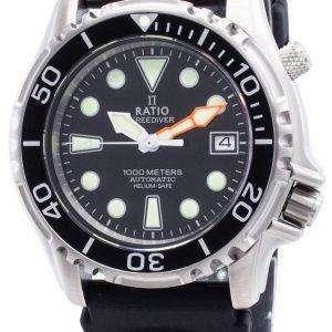 Ratio Free Diver Helium Safe 1000M Acero inoxidable Automático 1066KE20-33VA-BLK Reloj para hombre