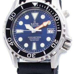 Ratio Free Diver Helium Safe 1000M Acero inoxidable Automático 1066KE20-33VA-BLU Reloj para hombre