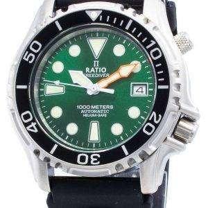Ratio Free Diver Helium Safe 1000M Acero inoxidable Automático 1066KE20-33VA-GRN Reloj para hombre