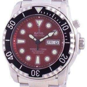 Ratio Free Diver Helium-Safe 1000M Sapphire Automatic 1068HA96-34VA-RED Reloj para hombre