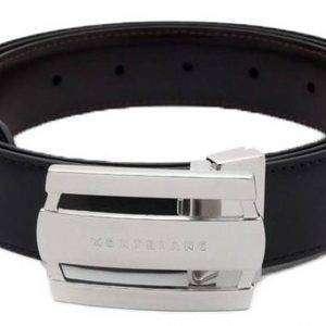 Montblanc 103431 Contemporáneo línea hebilla rectangular negro / marrón cinturón de cuero reversible de los hombres