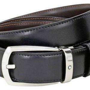 Montblanc 112960 Cinturón de herradura de cuero negro / marrón reversible para hombre