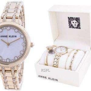 Anne Klein Swarovski Crystal Accented 3488GPST Reloj de cuarzo con juego de regalo para mujer