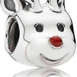 PANDORA 791781EN39 Encanto de reno en plata con esmalte rojo para mujer