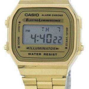 Casio Digital alarma Chrono A168WG-9WDF A168WG-9W Unisex reloj de acero inoxidable