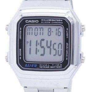 Reloj Casio Digital alarma cronógrafo doble tiempo A178WA-1ADF A178WA-1A hombres de acero inoxidable de