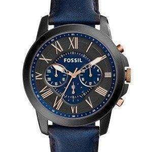 Reloj Fossil Grant cronógrafo con esfera negra y azul de cuero azul FS5061 para hombres
